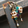 Sweet Romance Turquoise Sugar Skull and Flowers Day of the Dead Earrings