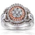 Annello 14k Two-tone Gold 1ct TDW Diamond 3-piece Bridal Ring Set (H-I, I1-I2)