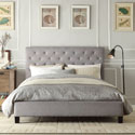 Sophie Grey Linen Tufted Platform King Bed