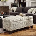 Kayla Herringbone Fabric Storage Bench Ottoman