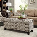 Kayla Chain-link Style Fabric Storage Bench Ottoman