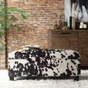 Kayla Black Cow Hide Fabric Storage Bench Ottoman