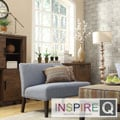 Inspire Q Kayla Denim Blue Linen Armless Loveseat