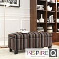 Kayla Coarse Stripe style Fabric Storage Bench Ottoman