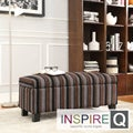 Inspire Q Kayla Coarse Stripe style Fabric Storage Bench Ottoman