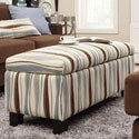 Kayla Pastel Wavy Stripe Fabric Storage Bench Ottoman