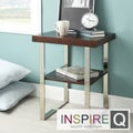 Inspire Q Kona Contemporary Chrome Rich Brown Wood-Top Accent Table