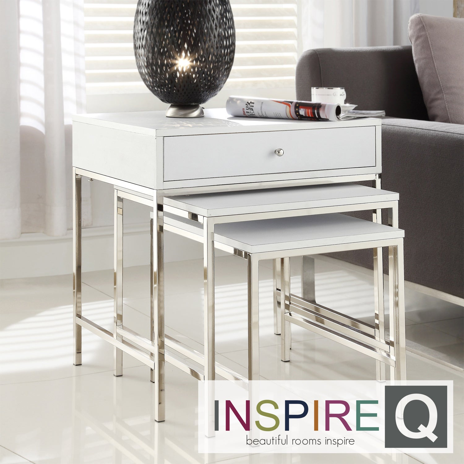 Inspire Q Kona Contemporary 1-Drawer Chrome Nesting Accent Table