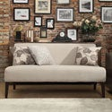 Kayla Grey Fabric Espresso Finish Armless Mini Sofa