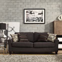 Hampton Charcoal Linen Upholstered Track Arm Sofa