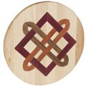 Inlaid Celtic Square Knot Round Wooden Cutting Board