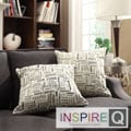 Inspire Q Kayla Herringbone Print Fabric 18-inch Square Throw Pillows (Set of 2)