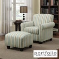 Portfolio Mira Summer Aqua Blue Stripe Arm Chair and Ottoman