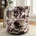 Moda Cow Hide Print Modern Round Swivel Chair