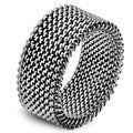 Men's Polished Stainless Steel Mesh Stretch Ring - 12mm Wide