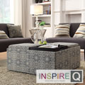 Avenue Medallion Floral Tray Top Storage Cocktail Ottoman