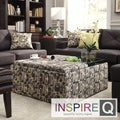Inspire Q Avenue Fun Geometric Tray Top Storage Cocktail Ottoman