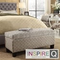 Inspire Q Kayla Grey Bracket Chain Fabric Ottoman