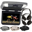 "Audiovox 10"" Overhead Monitor W/ DVD Player USB/SD Input & Remote W/ 3 Colors Interchangeable Trim Rings + 2 Wireless Headphones"