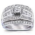 Annello 14k White Gold 1 1/10 ct TDW Round Diamond 3-piece Bridal Set (H-I, I1-I2)