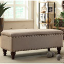 HomePop Nailhead Upholstered Storage Bench