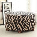 Luxury Round Animal Print Ottoman