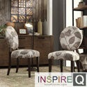 Inspire Q Zoey Floral Poppy Fabric Round Back Side Chairs (Set of 2)
