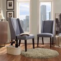 Regency Denim Blue Linen Nailhead Wingback Hostess Chair (Set of 2)