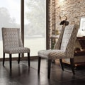 Regency Chain-link Print Nailhead Wingback Hostess Chair (Set of 2)