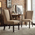Regency Mocha Linen Nailhead Wingback Hostess Chair (Set of 2)