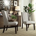 Regency Grey Bracket Chain Nailhead Wingback Hostess Chairs (Set of 2)