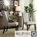 Inspire Q Regency Grey Bracket Chain Nailhead Wingback Hostess Chairs (Set of 2)