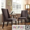Inspire Q Regency Dark Grey Chenille Nailhead Wingback Hostess Chairs (Set of 2)