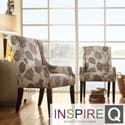 Inspire Q Kiefer Floral Poppy Print Sloped Arm Hostess Chair