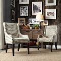 Kiefer Geometric Fabric Sloping Arm Hostess Chair