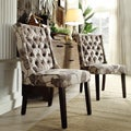 Alya Floral Poppy Fabric Tufted Back Hostess Chair (Set of 2)