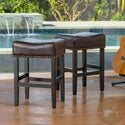 Christopher Knight Home Lisette Brown Backless Counter Stool (Set of 2)