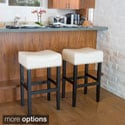 Christopher Knight Home Lisette Backless Leather Bar Stool (Set of 2)