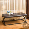 Christopher Knight Home Darcy Cross-Leg Tufted Brown Leather Bench