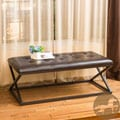 Christopher Knight Home Darcey Cross-Leg Tufted Brown Leather Bench