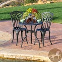 Christopher Knight Home Sanders 3-piece Black and Sand Cast Aluminum Outdoor Bistro Set