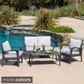 Christopher Knight Home Honolulu Outdoor 4-piece Wicker Seating Set and Cushions