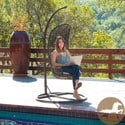 Christopher Knight Home Black Wicker Outdoor Swinging Chair