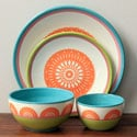 Orinda Orange and Green 16-piece Dinnerware Set
