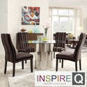 Kona 5-piece Coarse Stripe Wave Back Chrome Barrel Dining Set