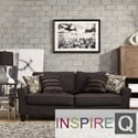 Inspire Q Lorimer Dark Grey Fabric Upholstered Track Arm Sofa