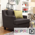 Inspire Q Cameron Light Brown Fabric Tufted Sloped Armchair