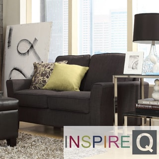 Inspire Q Lorimer Dark Grey Fabric Upholstered Track-arm Loveseat