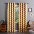 Aurora Home Room Darkening Chevron Print Grommet Top 84-inch Curtain Panel Pair