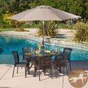 Christopher Knight Home Dusk Rectangular Outdoor Cast and Wicker 7-piece Set